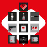 St. Valentines Day Symbols mens Accessories Icons Set Flat Design Stock Photos