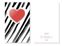 St. Valentines zebra greeting card 02, red heart, vector. St. Valentines Day 14th of February, red heart of love greeting card, black and white design, vector royalty free illustration
