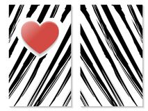 St. Valentines zebra greeting card 01, red heart, vector. St. Valentines Day 14th of February, red heart of love greeting card, black and white zebra design vector illustration
