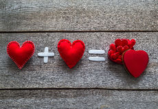 St.Valentines Day two red hearts Royalty Free Stock Photos