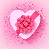 St Valentines heart shaped gift box with pink ribbon. St Valentines heart shaped gift box with pink ribbon and bow - top view vector illustration. Glitter glow Stock Photography