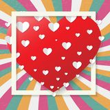 St. Valentines retro greeting card, red heart, vector. St. Valentines Day, February 14th, big red heart greeting card, colorful retro design, vector illustration royalty free illustration