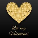 St-valentinkort av guld- hjärtor på den mörka bakgrunden Royaltyfri Fotografi