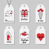 St.-Valentinsgruß ` s Tagesgeschenktags Einkaufs- und des Verkaufsbedruckbare Tagvektorsammlung Romantisch, Liebesthema Stockbilder