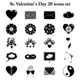 St. Valentne's Day 20 simple icons set Royalty Free Stock Photos