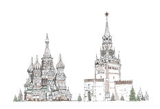 St. Vasil cathedral and Spasskaya tower on the Red Square Royalty Free Stock Photos