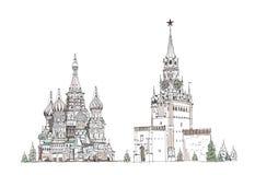 St Vasil kathedraal en Spasskaya-toren op het Rode Vierkant stock illustratie