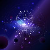 Vector illustration of Sacred or mystic symbol against the space background with planets and stars. Abstract geometric sign drawn in lines. Multicolored royalty free illustration
