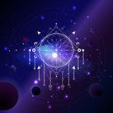 Vector illustration of Sacred or mystic symbol against the space background with planets and stars. Abstract geometric sign drawn in lines. Multicolored stock illustration