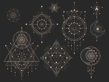 Vector set of Sacred geometric symbols with moon, eye, arrows, dreamcatcher and figures on black background. Gold abstract mystic. Signs collection drawn in vector illustration