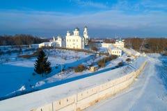 St velho George Monastery, fotografia a?rea do dia de janeiro Veliky Novgorod, R?ssia fotografia de stock royalty free