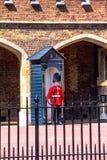 St vicina in servizio James Palace nel centro commerciale, Londra del membro della guardia britannico Immagini Stock