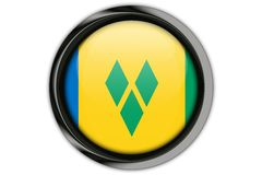 St Vinc & Grenadires flag in the button pin Isolated on White Ba Royalty Free Stock Photo
