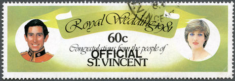 ST. VINCENT - 1981: Prince Charles and Lady Diana Royalty Free Stock Photo