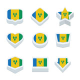 St vincent & the grenadines flags icons and button set nine styl Stock Image