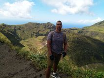 Hike to top of St.Vincent and the Grenadines La Soufriere Volcano Crater royalty free stock photo