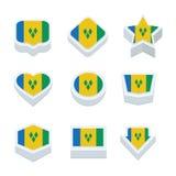 St vincent & le icone ed il bottone delle bandiere delle granatine hanno messo lo styl nove Immagine Stock