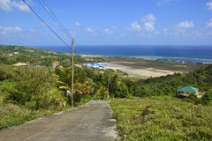 St Vincent panorama, Grenadines. Panorama of St Vincent and airport in Grenadines, Caribbean Stock Photo