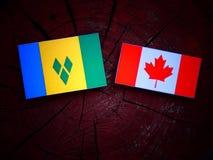 St. Vincent und die Grenadinen Flagge mit kanadischer Flagge auf einem Baumstumpf lokalisiert lizenzfreies stockbild