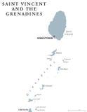 St. Vincent und die Grenadinen politische Karte Lizenzfreies Stockbild