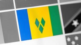 St. Vincent und die Grenadinen Staatsflagge des Landes Flagge auf der Anzeige, ein digitaler Wässerungseffekt lizenzfreie stockbilder