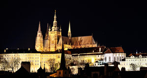 St. Viths Cathedral landmark in Prague by night Royalty Free Stock Photos