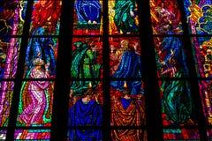 St Vitus大教堂污迹玻璃窗 库存照片