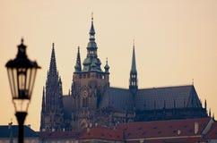 St.Vitus大教堂&灯在秋天 免版税图库摄影
