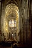 St. Vitus Cathedral,. Main aisle, gothic arches.Prague,Czechoslovakia [Czech Republic Royalty Free Stock Image