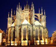 St. Vitus Cathedral. With illuminated at night stock images