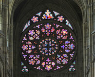 St. Vitus Cathedral. Stained windows in St. Vitus Cathedral stock images