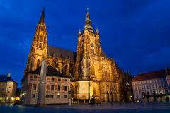 St. Vitus Cathedral. At evening in Prague, Czech Republic Stock Image