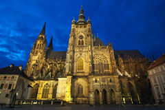 St. Vitus Cathedral. At evening in Prague, Czech Republic Royalty Free Stock Photography
