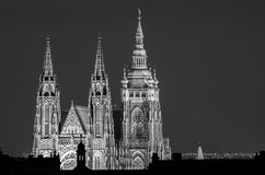 St. Vitus cathedral. Evening view on Prague castle with illuminated St. Vitus Cathedral stock photos