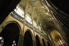 St. Vitus Cathedral. Indoor shot of the main arches in St. Vitus Cathedral, in Prague. Built in gothic style stock images