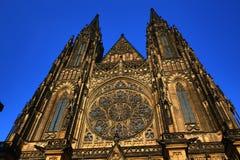 St Vitus Cathedral, castello di Praga, repubblica Ceca del tempio Fotografie Stock Libere da Diritti