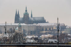 St Vitus Cathedral covered in snow Stock Images