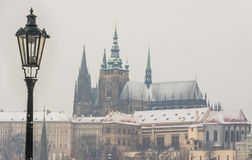 St Vitus Cathedral covered in snow Royalty Free Stock Photo