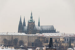 St Vitus Cathedral covered in snow Stock Photography