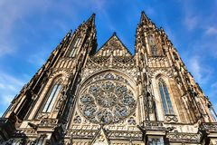 St Vitus Cathedral, details of the facade, Prague. St Vitus Cathedral, details of the facade in Prague stock images