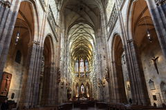 St Vitus Cathedral, historiska byggnader, den Prague slotten, Tjeckien Royaltyfria Bilder