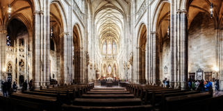 St. Vitus Cathedral in Hradcany, the most famous church in Prague Castle in Czech Republic 28.04.2015. St. Vitus Cathedral in Hradcany, the most famous church in stock images