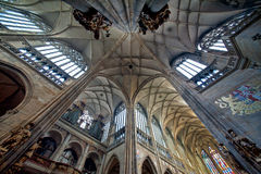 St. Vitus Cathedral. Indoor shot of the main arches in St. Vitus Cathedral, in Prague. Built in gothic style in the 14th century by Charles IV, it is the heart Royalty Free Stock Photo