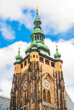 St. Vitus Cathedral located in Prague, Czech in Prague Castle. Baroque dome and spire of the southern tower royalty free stock photo