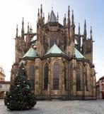 St Vitus Cathedral med det Christmans trädet Arkivfoto