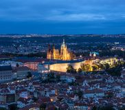 St. Vitus Cathedral is the most important and the largest church in Prague, Czech Republic. Prague, Czech Republic - October 7, 2017: Night view of Saint Vitus royalty free stock photo