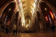 St Vitus Cathedral Nave och fristad Arkivfoto