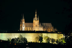 St Vitus cathedral in night. Night Scene Saint Vitus cathedral in Prague Stock Photo