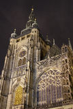 St. Vitus Cathedral at night Royalty Free Stock Images