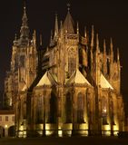 St. Vitus Cathedral At Night. Prague Castle - Cathedral St. Vitus residence of archbishop at night stock image